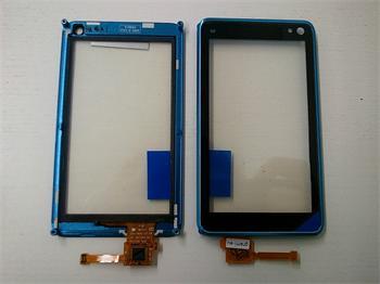 Dotyková plocha + sklíčko pre Nokia N8 + rámik blue