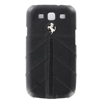 FECFGS3FB Ferrari California Kožený Zadní Kryt Black pro Samsung Galaxy S3 i9300