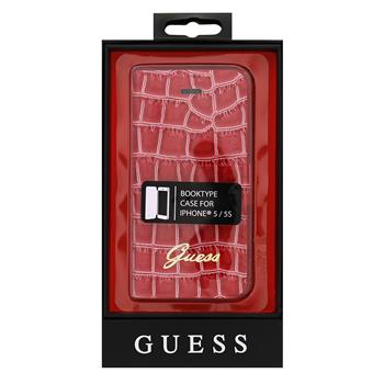 GUFLHP5CRR Guess Croco Folio Pouzdro pro iPhone 5 Red (EU Blister)