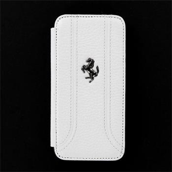 iPhone 5, 5S FEFFFLBKP5FW Ferrari Kožené Folio Pouzdro White