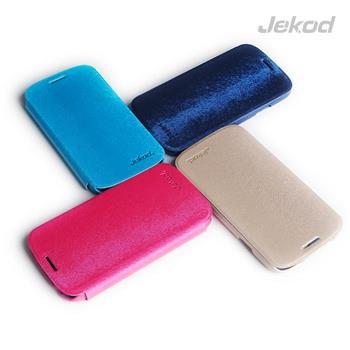 JEKOD Folio Kožené Pouzdro Modré pro Samsung i9500 Galaxy S4