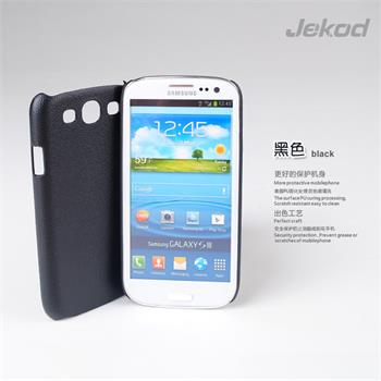 JEKOD Shield Kožený Zadní Kryt Čierne pro Samsung (i9300/S3 i9301 Neo)