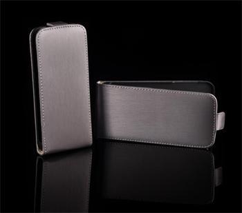 Kožené knižkové púzdro NEO slim iPhone 5/5S/SE Šedé