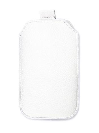 Kožené púzdro veľkosť 03 biele s pásikom pre Nokia 101, Nokia 2220, LG A100, Samsung E1202, Samsung E1050, Samsung E1190, Nokia 61