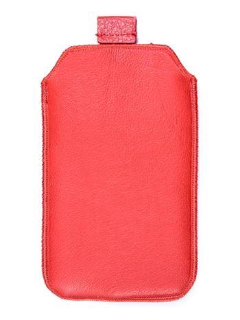 Kožené púzdro veľkosť 19 červené s pásikom pre Sam. E2652W, Sam. S 5300, Sam. S 5220, Sam. S 5360, Nokia C2-02, Nokia C2-06, Motor