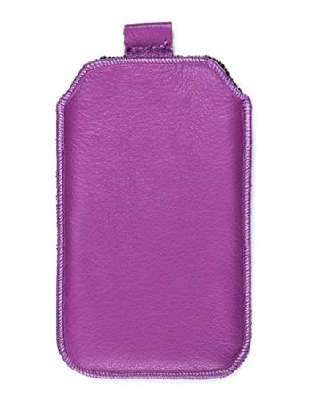 Kožené púzdro veľkosť 20 fialové s pásikom pre Nokia 808, ZTE Blade III, Sam. I8530, ZTE Grand X, Nokia Lumia 710, Samsung i8190,