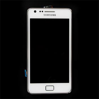 LCD Display, Dotyk plus Přední Kryt Samsung i9100 White (Service Pack)