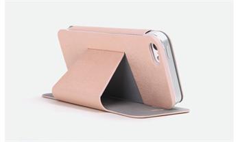 ROCK Textur Side Flip Kožené Pouzdro pro iPhone 5, 5S Pink