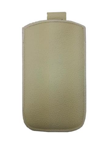 Samsung S5610, S5611, NOKIA 301, E512, Nokia 515 Pravé kožené púzdro veľkosť 28 béžové s vyťahovacím pútkom