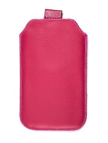 Samsung S5610, S5611, NOKIA 301, E512, Nokia 515 Pravé kožené púzdro veľkosť 28 ružové s vyťahovacím pútkom